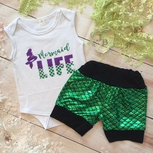 Other - Boutique Baby Girl 2pc MERMAID LIFE Outfit